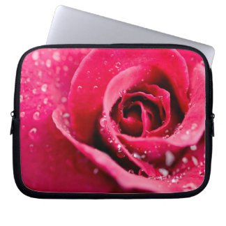Dew Drops on Rose Electronics Bag