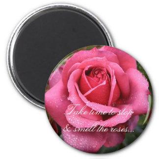 Dew Kissed Pink Rose! 6 Cm Round Magnet