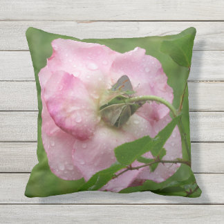 Dew Kissed Pink Rose Outdoor Pillow