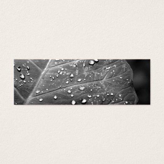 Dew on Leaf Black & White Design Mini Business Card