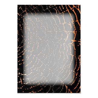 Dew On Shiny Web Orange On Black Background Design 13 Cm X 18 Cm Invitation Card