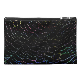 Dew Shiny Web Colorful On Black Background Design Travel Accessories Bag