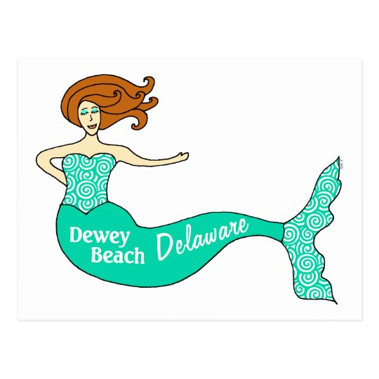 Dewey Beach, DE Mermaid Postcard