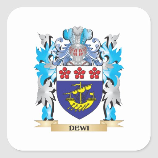 Dewi Coat of Arms - Family Crest Square Stickers