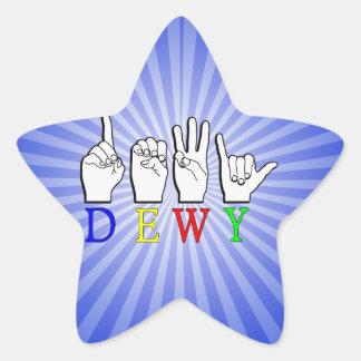 DEWY  ASL FINGER SPELLED STAR STICKER