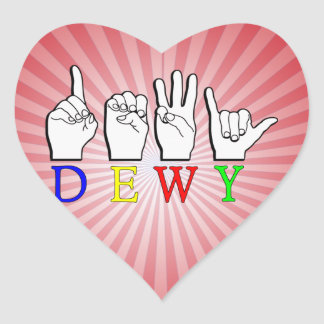 DEWY  ASL FINGER SPELLED HEART STICKERS