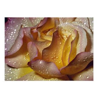 Dewy dusty yellow rose invitation