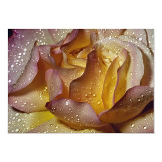 """Dewy, dusty yellow rose 5"""" x 7"""" invitation card"""