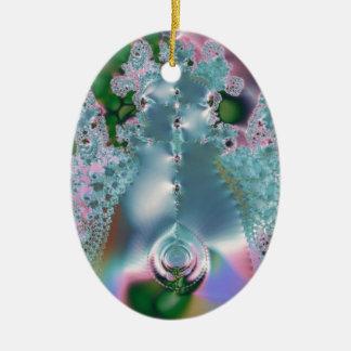 Dewy grass fractal ceramic oval decoration