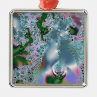 Dewy grass fractal Silver-Colored square decoration