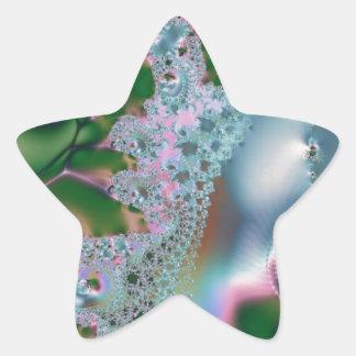Dewy grass fractal star sticker