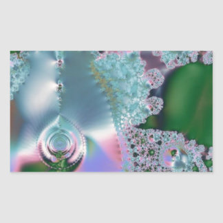 Dewy grass fractal rectangular sticker