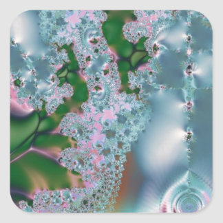 Dewy grass fractal square stickers