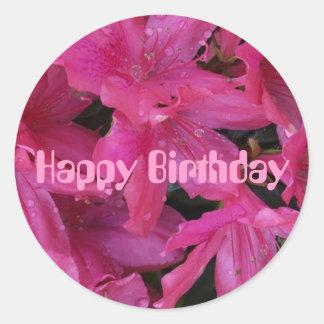 Dewy Kiss, Happy Birthday Round Sticker