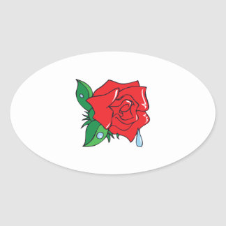 DEWY ROSE OVAL STICKERS