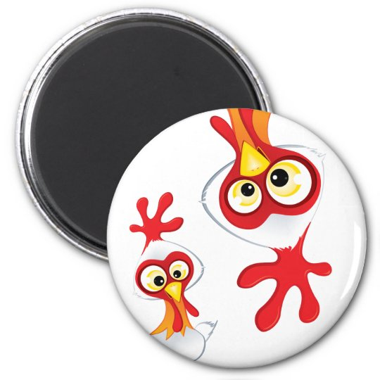 Dexter the Rooster :: 6 Cm Round Magnet