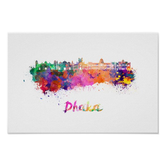 Dhaka skyline in watercolor poster