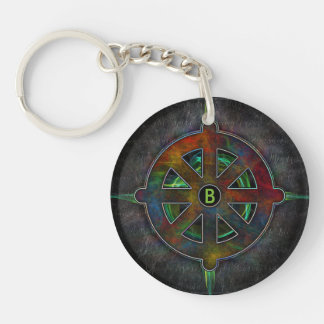 Dharma Spirit Wheel of Energy Double-Sided Round Acrylic Key Ring