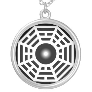 Dharma Wheel Design Silver Plated Necklace
