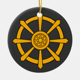 Dharma Wheel Round Ceramic Decoration