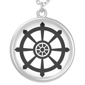 Dharma Wheel Silver Plated Necklace
