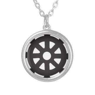 "Dharmacakra, Dharmachakra, ""Wheel of Dharma"" Silver Plated Necklace"