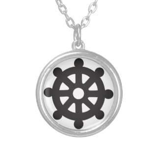 """Dharmacakra, Dharmachakra, """"Wheel of Dharma"""" Silver Plated Necklace"""