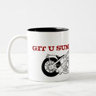 DHC oval bike B&W, stamp, GIT U SUM Two-Tone Mug