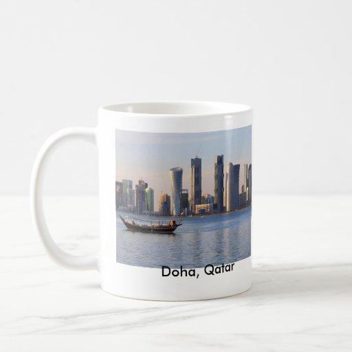 Dhow and Doha skyline Basic White Mug