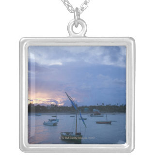 Dhows at sunset, Vilanculos Harbor, Bazaruto Silver Plated Necklace