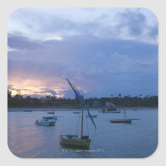 Dhows at sunset, Vilanculos Harbor, Bazaruto Square Sticker