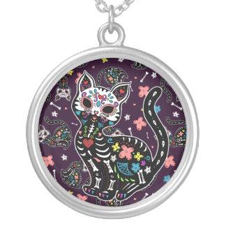 Dia de los Gatos Round Pendant Necklace