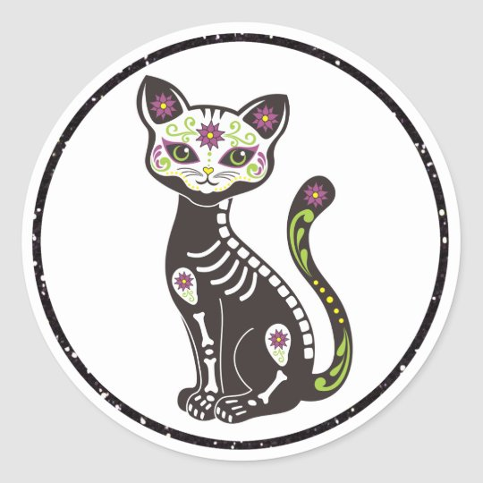 Dia De Los Muertes Day of the Dead Cat Stickers