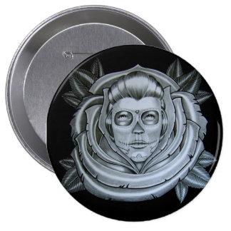 dia de los muertos 10 cm round badge