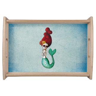 Dia de Los Muertos Adorable Mermaid Serving Tray