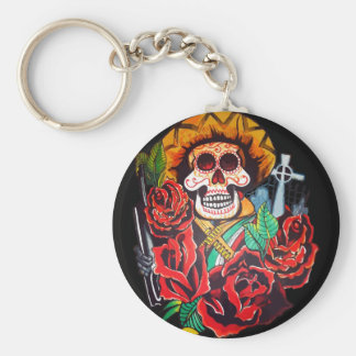 dia de los muertos basic round button key ring