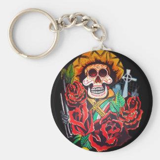 dia de los muertos basic round button key ring