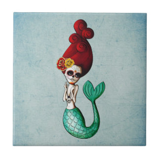 Dia de Los Muertos Beautiful Mermaid Tile