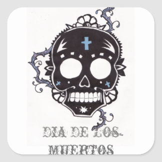 dia de los muertos black thorn square sticker
