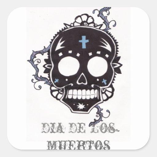dia de los muertos black thorn sticker