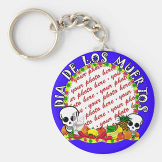 Dia De Los Muertos Blue  Photo Frame Basic Round Button Key Ring