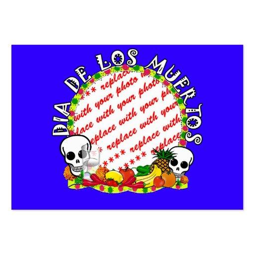 Dia De Los Muertos Blue  Photo Frame Business Card Template