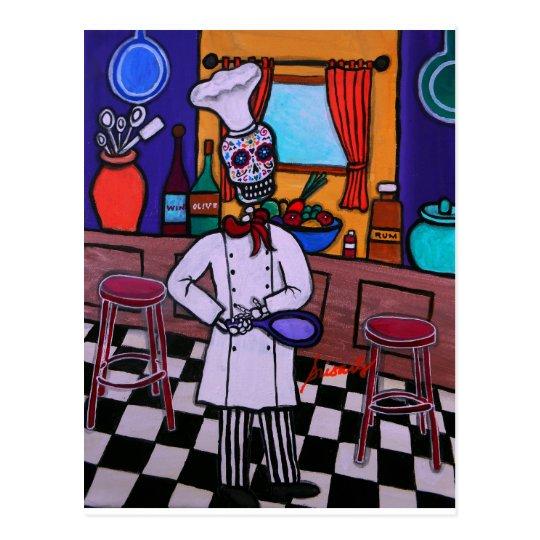 Dia de los Muertos Chef Postcard