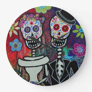 Dia de los Muertos Couple Wedding Lover Clocks