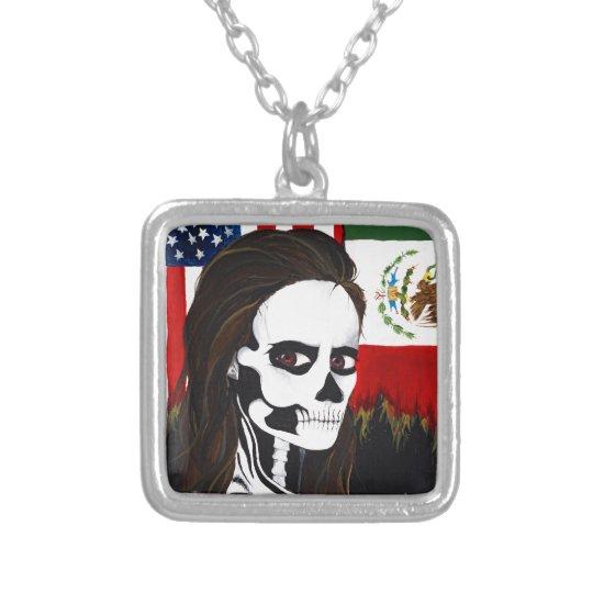 Dia de los Muertos, Day of the dead Silver Plated Necklace