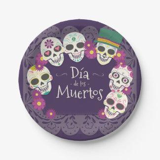 Dia de los Muertos Day of the Dead skull masks Paper Plate