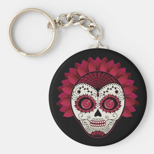 Dia de los Muertos decorative red flowers skull Keychains