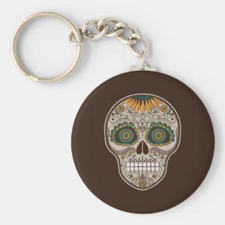 Dia de los Muertos decorative sunflower skull Basic Round Button Key Ring