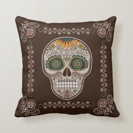 Dia de los Muertos decorative sunflower skull Cushion