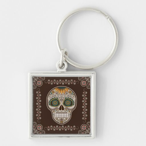 Dia de los Muertos decorative sunflower skull Key Chains